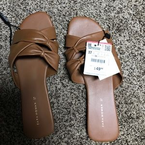 Zara Brown Flats. Never been worn